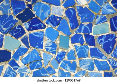 typical blue ceramic pattern from Park Guell, Barcelona