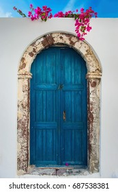 Typical blue door on the island of Santorini, Cyclades, Greece, Southern Europe