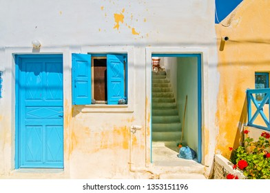 Typical blue door and window in Emporio on the island of Santorini