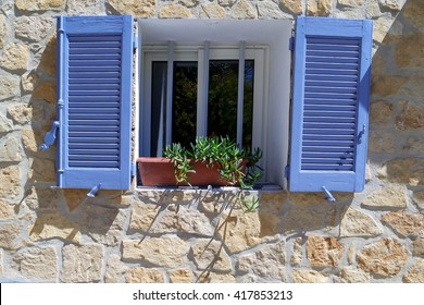 Typical blue Shutters of Provence, South France