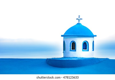 Typical blue tower of the small Greek church, the Greek island of Samos