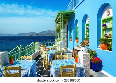 Typical blue and white Greek restaurant, Kalymnos, Dodecanese Islands, Greece