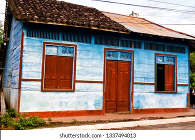 Typical blue wooden house on Ometepe Island, Nicaragua, Central America