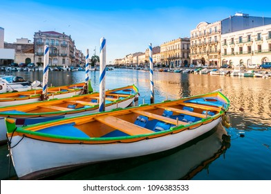 Typical boats on the royal canal in Sète en Occitania, France