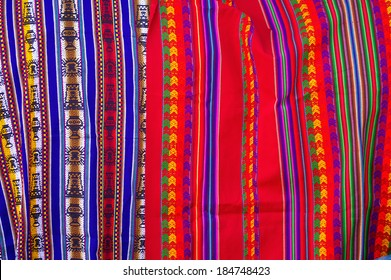 Typical Bolivian/Peruvian fabrics with Inca traditional ornaments