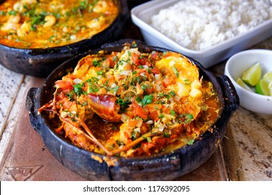 Typical Brazilian food, lobster moqueca.