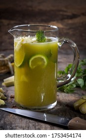 "Typical Brazilian ""garapa"" jar cane juice with lemon and pineapple"