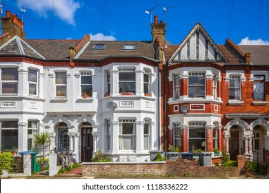 Typical British terraced houses around Kensal Rise in London