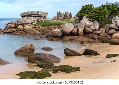 typical Brittany coast at  the Tregastel in the north of France