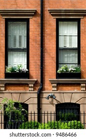 Typical brownstone in Brooklyn Heights neighborhood in spring, NYC