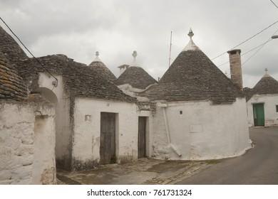 Typical building of Alborobello, region Puglia, southern Italy, co-called trulli