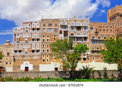 Typical building from mud bricks in the capital of Yemen, Sanaa