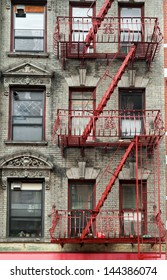 Typical building stairs in New York neighborhoods, USA
