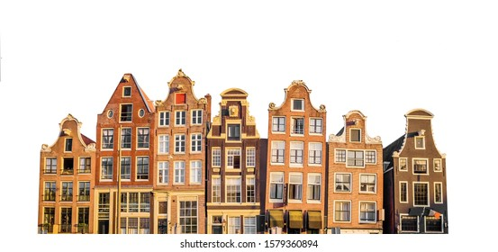 Typical canal houses in Amsterdam (Netherlands) isolated on white background