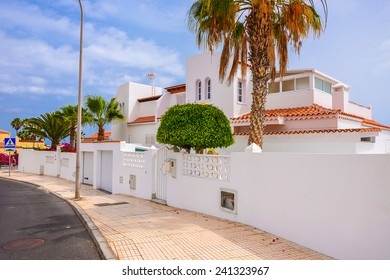 Typical Canarian houses on street of Tenerife, Canary islands, Spain