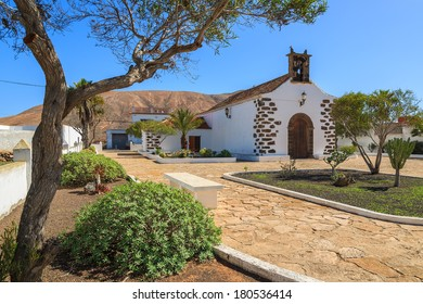 Typical Canary style small church in Villaverde village, Fuerteventura, Canary Islands, Spain