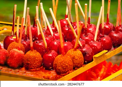 Typical caramel apples at Xochimilco, Mexico.