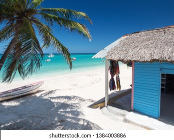 Typical caribbean house near Atlantic ocean beach with coconut palm tree. Blue and red exterior of tropical wooden hut. Dominican Republic