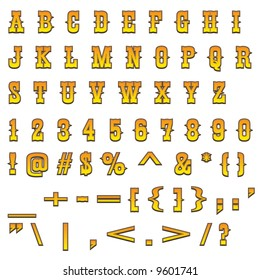 Typical carved wood western alphabet