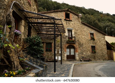 Typical catalan old house in Montseny village at Barcelona province