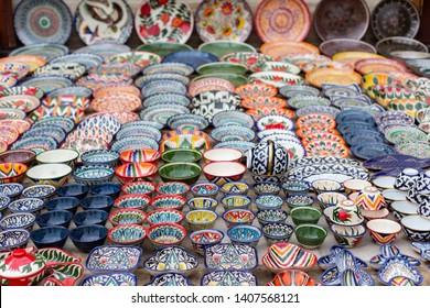 Typical ceramics of Bukhara, in Uzbekistan, Asia