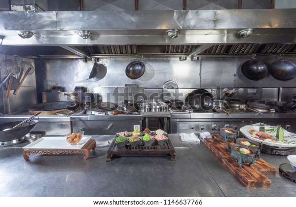 Typical Chinese Restaurant Kitchen Unmanned Scene Stock
