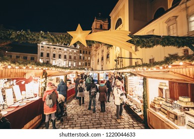 Typical Christmas advent fair in Vienna Austria