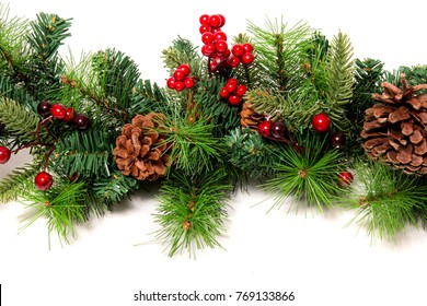 Typical Christmas decorative garland isolated on a white background.