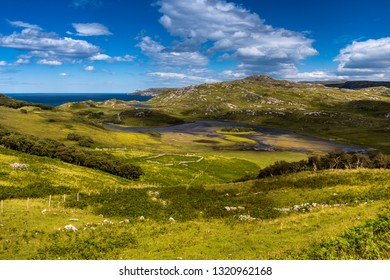 typical coastal landscape with endless pastures, Sutherland, Highlands, Scotland