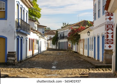 Typical cobblestone street with colonial buildings in historic town Paraty, Brazil