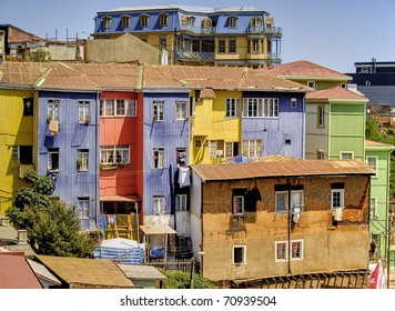 Typical color houses and buildings of Valparaiso,Chile