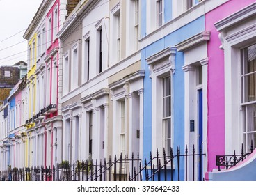 Typical colorful brick houses of Notting Hill district near Portobello Road - London, UK