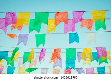 Typical colorful flags used for decoration at the June Festivals (aka festas de Sao Joao), popular festivities in Northeastern Brazil (Oeiras, Brazil)