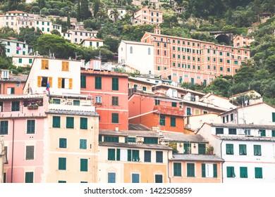 Typical colorful home facades in Camogli, Liguria, Italy