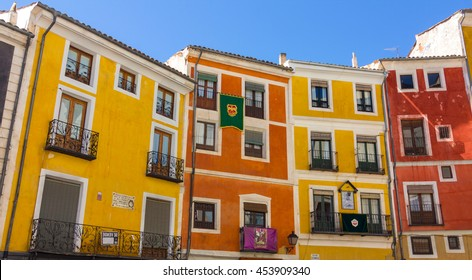 Typical colorful houses in the city of Cuenca, Spain
