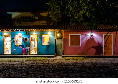 Typical colorful houses, a historical heritage of Caraíva, view of a storefront at night, Caraíva Village, Porto Seguro,  Bahia, Brasil