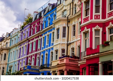 Typical colorful houses of Notting Hill, district near Portobello Road, London, UK.
