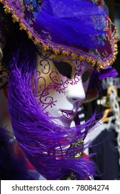Typical colorful souvenir carnival mask in Venice, Italy