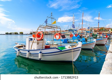 Typical colourful Greek fishing boats in Pythagorion port, Samos island, Greece