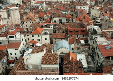 Typical croatian architecture. Roof view of houses in the town of Split, Croatia