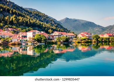 Typical Croatian countreside view with calm sea and sunny morning. Colorful summer seascape of Adriatic sea, Slano willage location, Croatia, Europe. Beautiful world of Mediterranean countries.