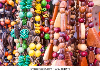 Typical Cuban souvenir: seed necklace. Popular in Cuban accounts, organic jewelry made from Caribbean seeds. Street market in Cienfuegos city, Cuba.