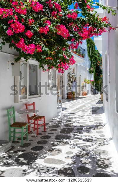 A typical cycladic, whitewashed alley with colorful flowers at summer time at the village of Parikia, Paros island, Cyclades, Greece