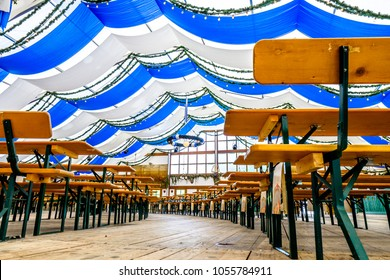 typical decoration at a oktoberfest tent in munich - germany