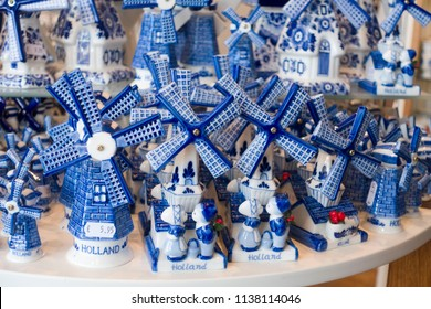 Typical Delft blue in a souvenir shop in Delft, The Netherlands