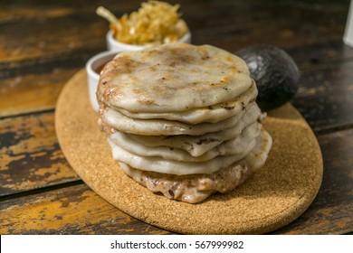Typical delicious flour tortillas from guatemala and El Salvador, pupuseria, pupusa