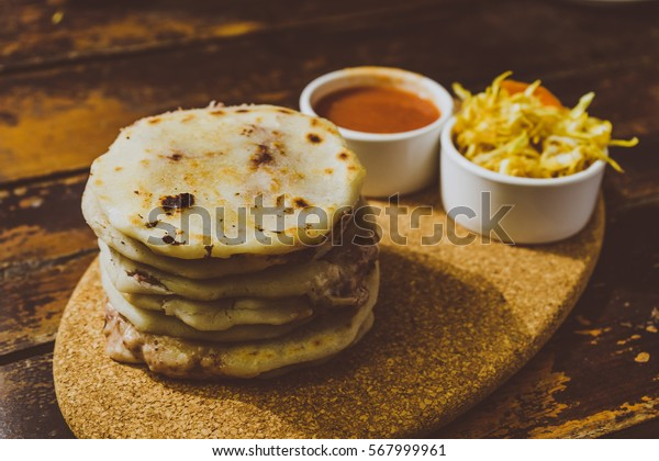 Typical delicious flour tortillas from guatemala and El Salvador, pupuseria, pupusa