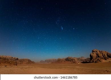 Typical desert landscape at Wadi Rum, Jordan during a star night