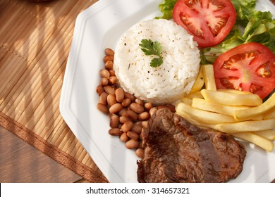 Typical dish of Brazil, rice and beans