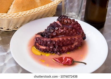 Typical dish of octopus stewed with oil and pepper in a bar in the town of San Andres in Tenerife, Canary Islands